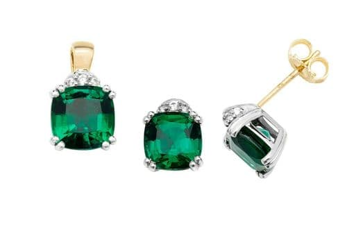 Emerald Pendant and Earrings Set Faceted Cushion Solid Yellow Gold Hallmarked